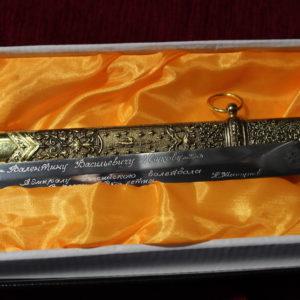 Ручная гравировка ножа (обработка сатин)